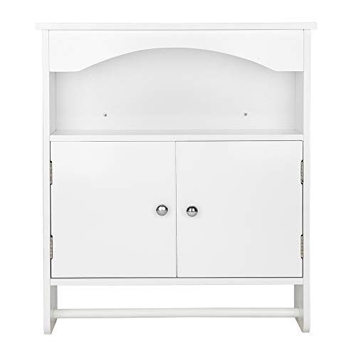 Bathroom Medicine Cabinet Bathroom Cabinet Organizer Wall Mounted Two-Door Wall Storage Over Toilet Cabinet Kitchen Doule Door Cupboard Wall Mounted with Towels Bar White Finish