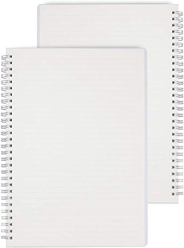 A5 Lined Notebook,THXMADAM Transparente Cuaderno Rayado A5 Bullet Journal Tapa Dura Diario Daily Monthly Agenda Planner Notepad Sketchbook Spiral Bloc de Notas Libreta con 80 Hojas,2 Packs