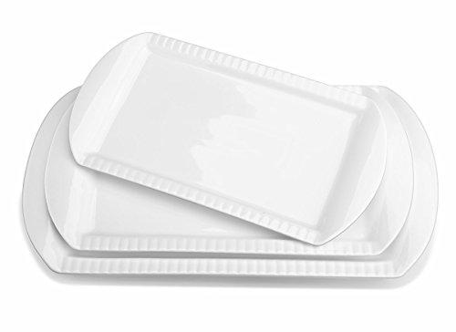 Lifver 15-inch Porcelain Embossed Rectangular Platter/Serving Plates, Set of 3, White, 15 inch