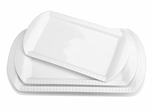 LIFVER Porcelain Serving Platters, Large Rectangular Platters, Embossed Serving Plates, Dinner Platter, 15.6 Inch, 13.8 Inch, 12.2 Inch, Set of 3, White