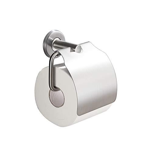 KENES Toilettenpapierhalter, Edelstahl gebürstet, Toilettenpapierhalter mit Deckel, SUS304 Edelstahl WC Rollenhalter Wandhalterung Klopapierhalter Wc Papier Halterung