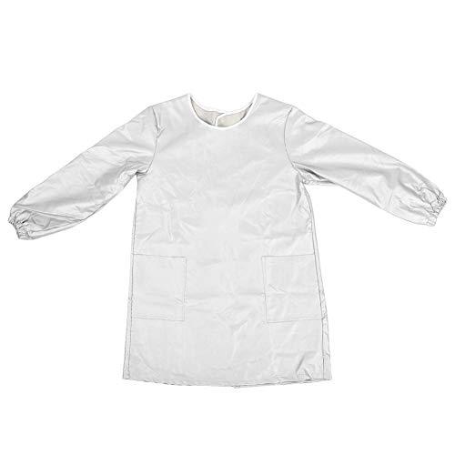 Vikenar Haustierpflege Kleidung Groomer Arbeitskleidung Haustier Baden wasserdichte Schürze Langarm (Silber M)