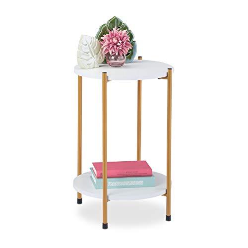 Relaxdays Tavolino Effetto Marmo, 2 Ripiani, Tavolo Salotto Rotondo, Mobile in Metallo & MDF, Bianco/Oro, 1 pz