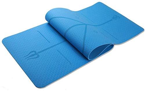 Ducomi Asana Tappetino Yoga Antiscivolo in Gomma Naturale Resistente all' Acqua - Tappetino Palestra Fitness 183cmx61cmx6mm (Blu)