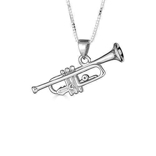 Kleine Schätze Sterling Silber 3D Trompete Musik Anhänger Halskette (Verfügbare Kettenlänge 40cm - 45cm - 50cm - 55cm)
