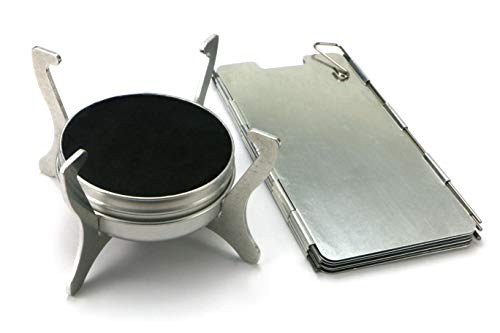 Polymath Products Phantom - Ultralight Stove and Windshield Set. Spill-proof burner with folding stand. Uses alcohol and gel fuel. For backpacking, camping, fishing and hiking. UK-Made.