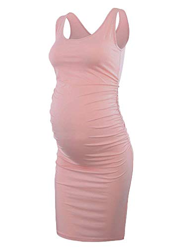 Liu & Qu Women's Maternity Sleeveless Tank Dresses Side Ruching Bodycon Dress for Daily Wearing or Baby Shower Dark Pink X-Large