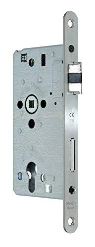 SSF Zimmer Türschloss mit Flüsterfalle Kl.III PZ 55/72/8, Edelstahl Stulp 20x235mm, DIN Rechts abgerundet incl. SN-TEC® Montageset