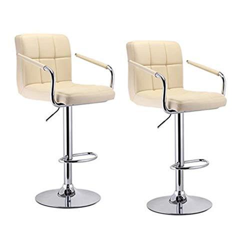 KJGHJ - 2 sgabelli da bar moderni con poggiapiedi, sedie da bar con braccioli, in pelle sintetica girevole, regolabili, sedia da bar (colore beige)