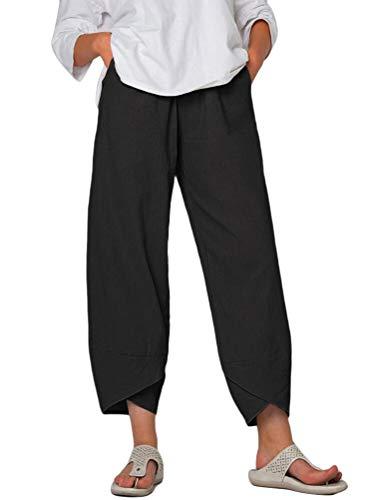 ORANDESIGNE Pantalon Lin Femme Été pour Yoga Sport Jogging Pyjama Pantalon Taille Haute Amples Grande Taille Baggy Harem Pants Palazzo Sarouel A Noir Large