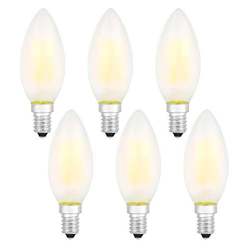 LED Lampen E14 Dimmbare Glühbirnen Warmweiß 2700K Energiesparlampe Retro Glühbirne 360 ° Grad Strahlwinkel 4W Birne , 40W Glühlamp Enäquivalent Energieklasse A + (Matt Kerze E14 LED Lampe-6er Pack)