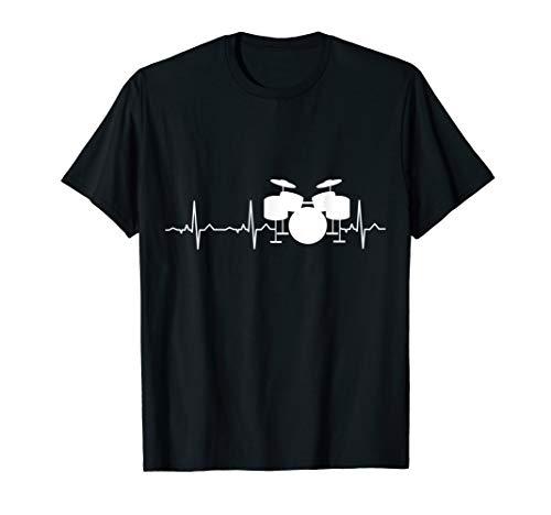 Drummer Heartbeat Shirt - Best Drum Player & Music Fan Gift T-Shirt