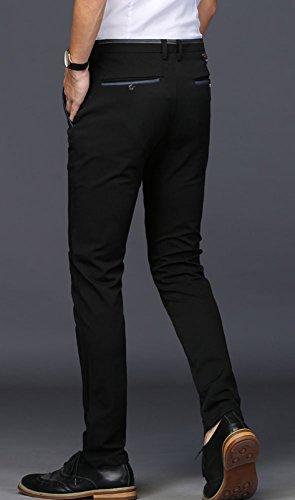 Plaid&Plain Men's Stretch Dress Pants Slim Fit Skinny Suit Pants 7108 Black 33W32L