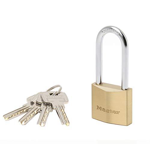 Master Lock 2940EURDLH Candado de llave con Cuerpo de Latón Macizo Muy Grueso con arco Mediano, Dorado, 9.1 x 4 x 1.6 cm