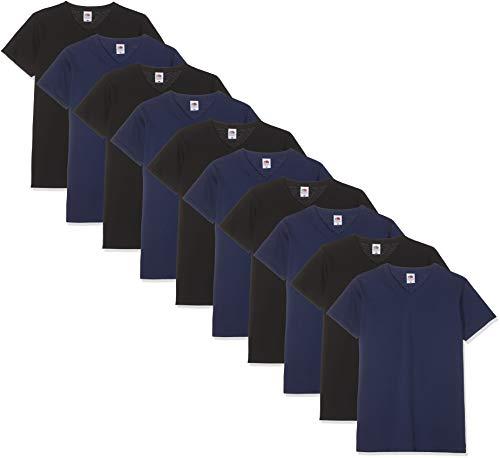 Fruit of the Loom Herren V-Neck Valueweight T-Shirt, Schwarz/Marineblau, XL (10er Pack)