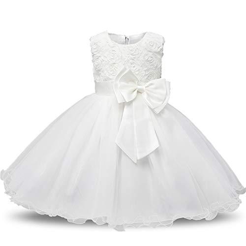 Komfortables und exquisites Kleid Blumenmädchenkleid for Geburtstagsfeier 0-12 Jahre Pailletten Outfits Kinder Mädchen Erste Kommunion Mädchen Kleid Kinder tragen Robe ( Color : White , Kid Size : 7 )