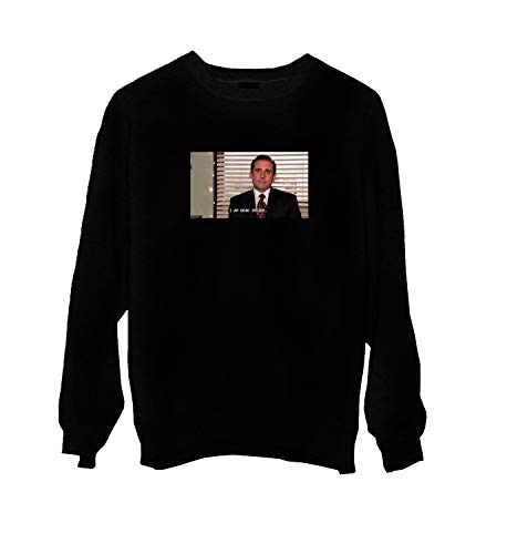Office TV Show The Michael Scott Dead Inside Meme_MA0448 Crewneck Sweater Gift for Him Her Unisex, L Black