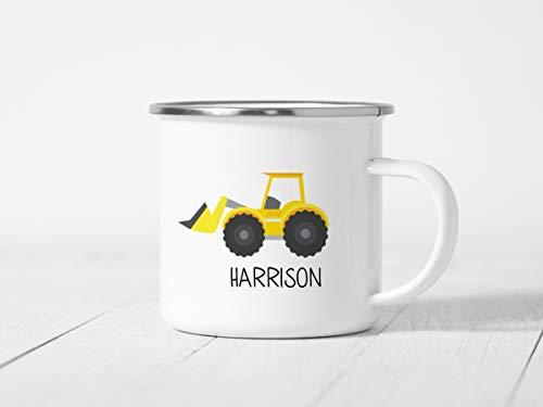 DKISEE Taza de esmalte personalizada Tractor esmalte taza regalo de cumpleaños para niños, regalo personalizado, taza de construcción personalizada 10 onzas