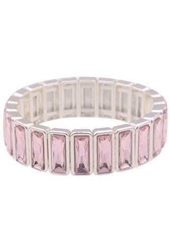 Leslii Damen-Armband Glitzer-Armreif Statement-Armband breiter Armschmuck silbernes Modeschmuck-Armband in Silber Rosa