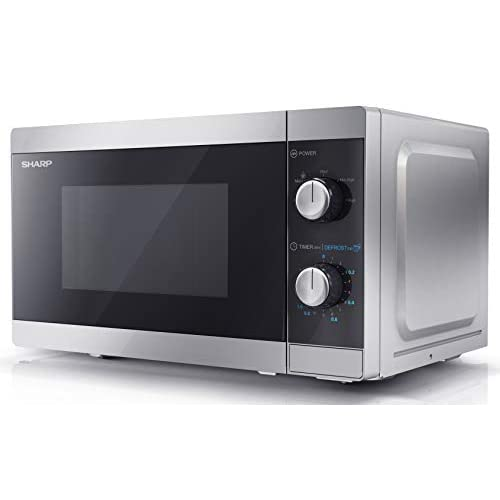 Sharp YC-MS01U-S 800 W Solo Microwave Oven with 20 Litre Capacity, 5 Power Levels & Defrost Function – Silver
