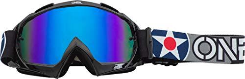 O'NEAL | Fahrrad-Brille Motocross-Brille | MX MTB DH FR Downhill Freeride | Hochwertiges 3D-Formmaterial für ultimative Klarheit, UV-Schutz | B-10 Goggle | Unisex | Schwarz Grau verspiegelt | One Size