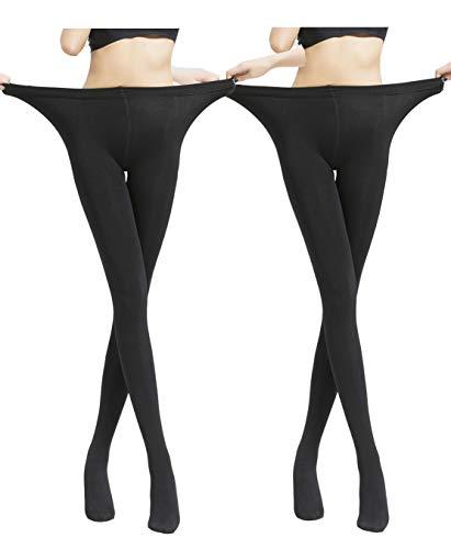 Yulaixuan para mujer 2 pares de medias forradas de vellón Medias de talla grande Pantalones cálidos Medias opacas pantimedias con vellosidades (2 negro)