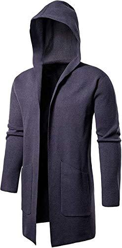 Tammy W Nash Men's Long Cardigan Hooded Open Edge Outwear Knit Sweater Trench Coat Knitted Jacket Coat