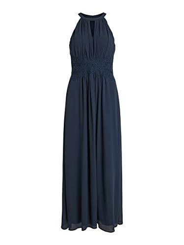 Vila Damen Vimilina Halterneck Maxi Dress - Noos Kleid, Total Eclipse, 36 EU