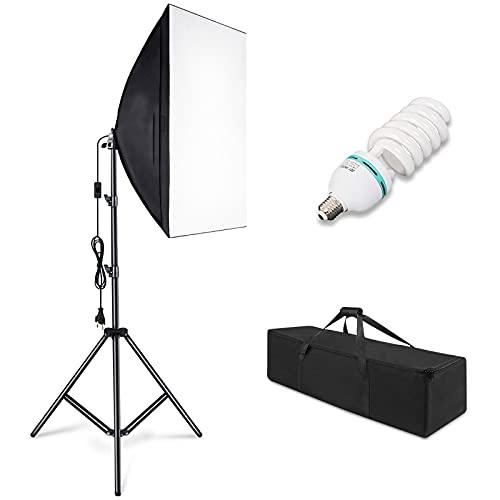 Softbox Kit Luz de Iluminacion Fotografia, 1 Ventana de Luz 50x70cm, con 1 Lampara Fotografia 85W, 1 Tripodes, 1 Bolsa de Transporte