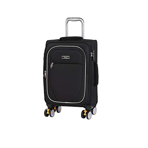 it luggage Lockdown 8 Wheel Lightweight Semi Expander Cabin With Tsa Lock Suitcase, 57 cm, 45 L, Black