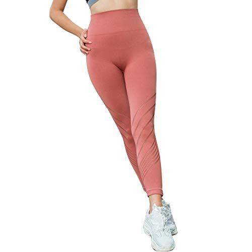 Pantalon de Yoga pour Femme - Taille Haute - en Maille Respirante Creuse - pour la Course à Pied - pour Les Amateurs d'athlétisme. - Rouge - L