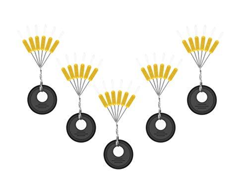 Milepetus 300/600 Stück Gummi Angeln Bobber Stopper,6 in 1 Float Sinker Stopps,3 Größen Schwarz Rot Orange Oval Zylinder Float Stop Verfügba (Orange-Cylinder, S-300Pcs)