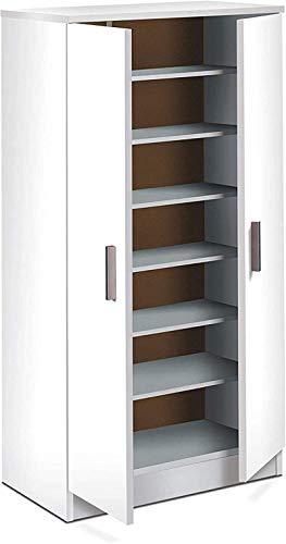 ZKZKK Verstellbare Schuhschlitze Organizer Schuhregale Basic Kleiderschrank Schuh Rack Hilfsmöbel mit glanzweiß White Maße: 108 cm (Höhe) x 55 cm (Länge) x 36 cm (Tiefe) Space Saver Schuhhalter Rack