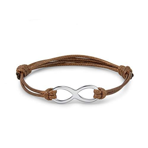 Sunligoo Unendlichkeitszeichen Armband Damen Infinity Lederarmband Handgemachte Armkette Verstellbar Freundschaftsband Liebesgeschenke (Braun)