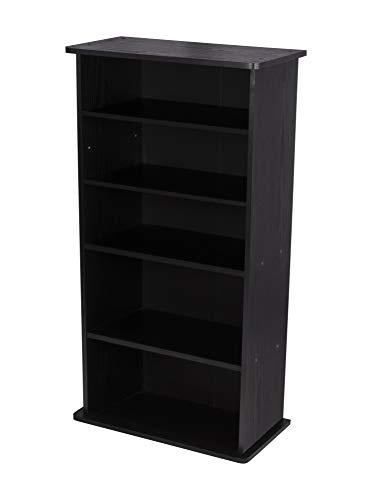 Atlantic Drawbridge Media Cabinet - New/Improved Holds 240 CDs, Wide Stable Base, 4 Adjustable, 2 Fixed Deeper Shelves, 36 X 19 X 10 inch PN37936251 in Black