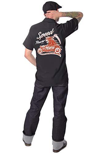 Worker Shirt Camicia Hot Rod Moonshine Redneck Uomo Oldtimer Biker Rockabilly v8