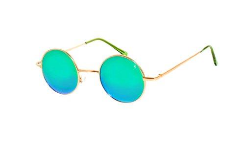 rainbow safety Damen Herren Sonnenbrille Polarisiert Runder Rahmen Stil Lennon Retro Hippi R2317 (R2317E Gold Verspiegelt Grün)