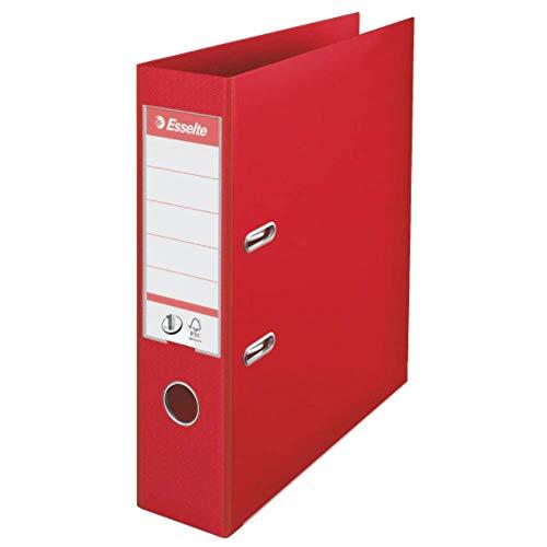Esselte - Archivador de plástico (para archivar, plástico, A4, 7,5 cm ancho de lomo, n.º 1, 10 unidades), color rojo