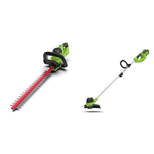 Greenworks Akku-Heckenschere G40HT+ Akku-Rasentrimmer G40LT (Flowerguard ohne Akku und Ladegerät)+ 29187 Tools 3 Stück Doppel-Fadenspule für 40V Rasentrimmer