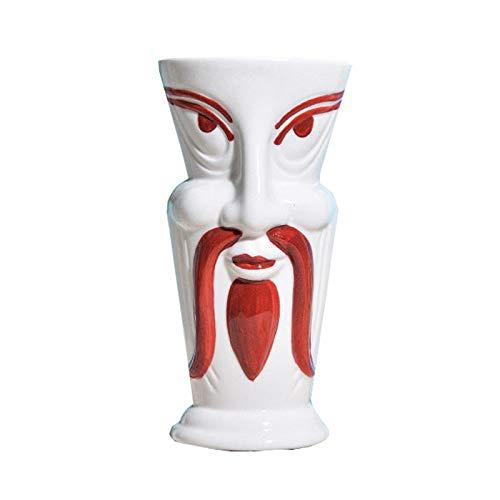 Weinglas Einfachheit 380ml Cocktailglas Keramik Muster Wasser Tasse Saft Becher Bar Weiß 8x16.3cm MUMUJIN