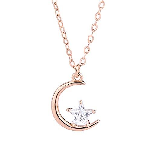YNING S999 Collar de Estrella de Luna de Plata Esterlina/Mujer Primavera y Verano/Cadena de Clavícula de Estrella y Luna Simple/Longitud de Cadena Ajustable