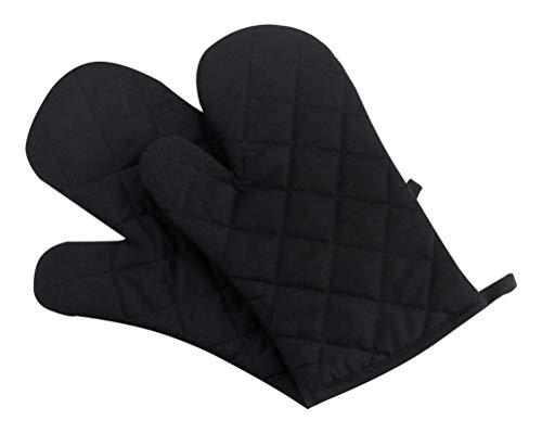 Klmnop - Manopla de cocina de algodón para horno de microondas, resistente al calor con 300 °F, guantes de cocina para barbacoa y cocción, color negro