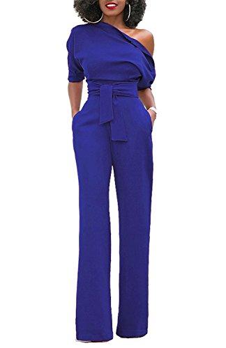 Minetom Chic Combinaison Femme Epaules Dénudées Manches Courtes Pantalon Longue Noir Rouge Bleu Marine FR 42