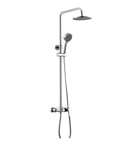 XUSHEN-HU Chrome alcachofa de la ducha sistema de ducha grifo de cobre kit de baño termostático - European ducha - ducha de lluvia - 8 'ducha que se puede subir y se volvió aerosol (color: plata) Bañe