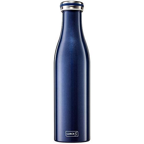 Lurch 240862 Isolierflasche/Thermoflasche für heiße und kalte Getränke aus Doppelwandigem Edelstahl 0,75l, blau-metallic