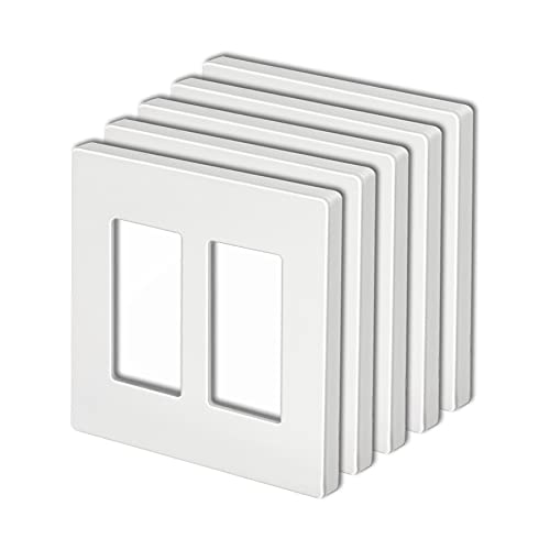 [5 Pack] BESTTEN 2-Gang Screwless Wall Plate, USWP4 White Series, Decorator Outlet Cover, H4.69