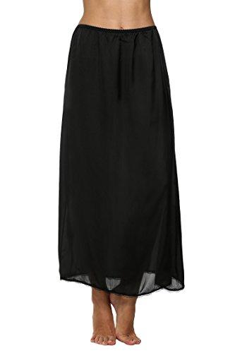 Avidlove Damen Lang Rock Spitzen Unterrock Halbrock Unterkleid Petticoat Einfarbig Schwarz Miederröcke Halbslip XL A Maxi Schwarz