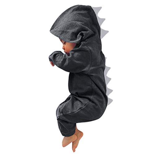 LEXUPE Neugeborenes Baby Jumpsuit Outfit Dinosaurier Reißverschluss mit Kapuze Spielanzug Overall Outfit Kleidung Niedlicher Babyschlafsack Onesies Herbst und Wintermodelle(C-Grau,12M