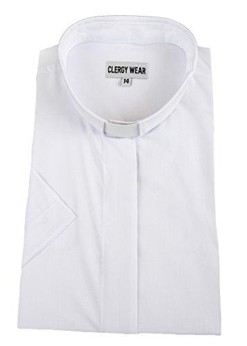 Mercy Robes Women's Short Sleeve TAB Collar Clergy Shirt (6, White)