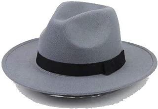 Mens Women Thick Wool Vintage Felt Fedora Wide Brim Panama Bowler Trilby Hat Cap Black Gray